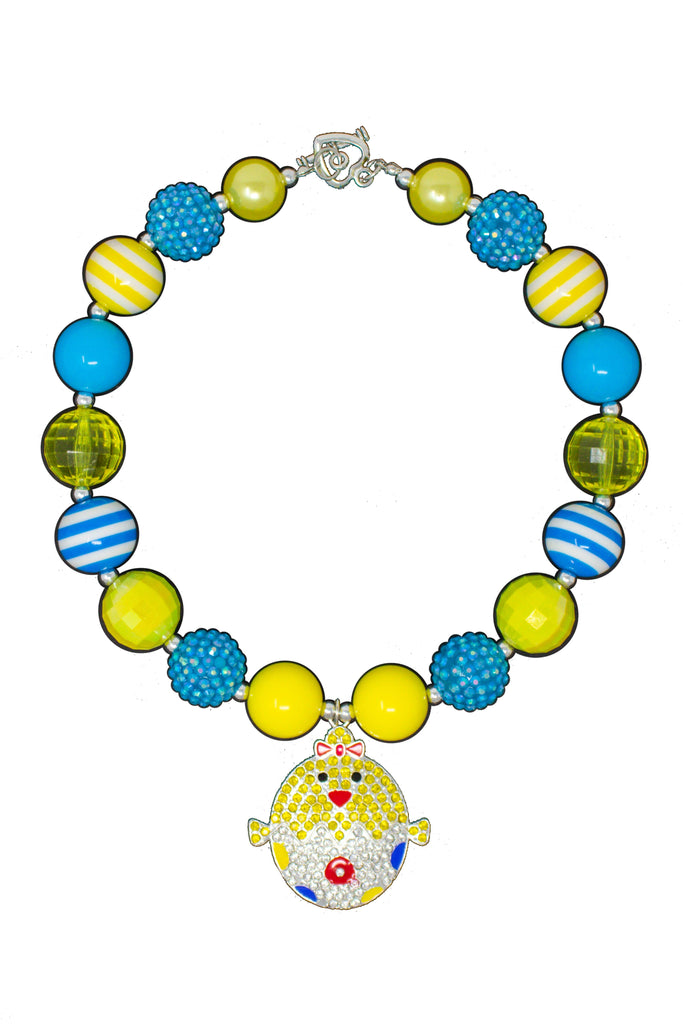 Yellow & Blue Easter Chick Rhinestone Necklace - Sparkle in Pink