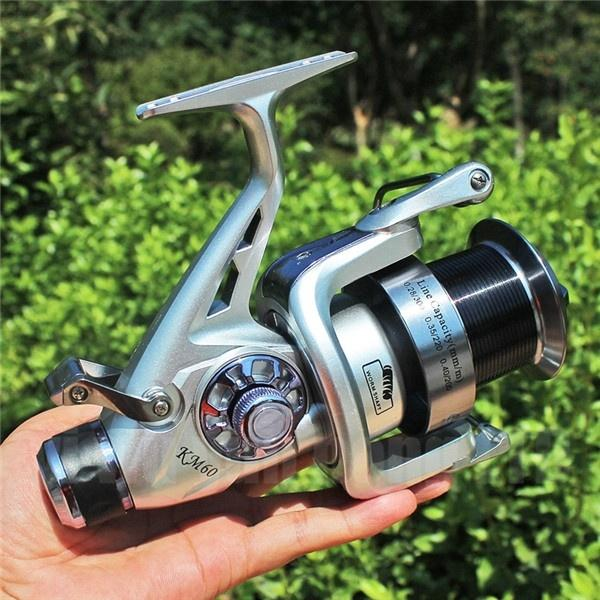 Sougayilang Spinning Fishing Reel 5.2:1 Dual Brake Feeder 11+1BB Carp Reel with Rear Drag Freshwater or Saltwater 5000 6000 Series - OhCoolstule