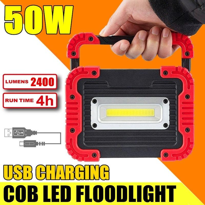 50W LED Portable Worklight Camping Lights USB Rechargeable Flood Lamp Outdoor Waterproof With Power Bank Function - OhCoolstule