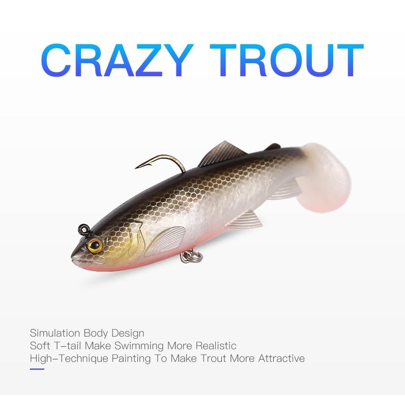 Sinking Soft Bait with T-Tail 120mm/4.72in 38g/1.34oz 2Pcs - OhCoolstule