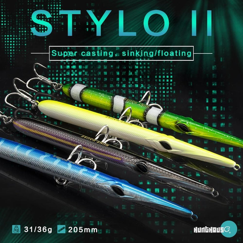 Hunthouse needle stylo fishing lure bait floating/sinking pencil 205mm 31g/36g 14 colors garfish walk dog action skipping - OhCoolstule