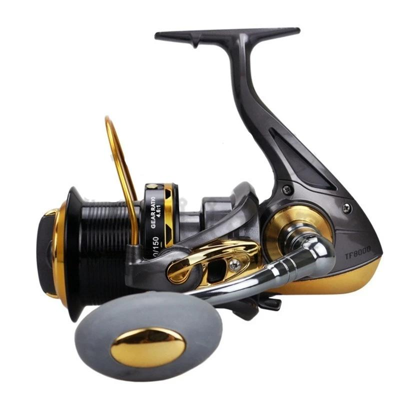 PULLINE TF Spinning Fishing Reel 12BB+1RB Full Metal Carp Fishing Reels Long Distant Wheel for Saltwater Fishing 8000/9000/10000/11000 Models Drag 24kg/52lb Fishing Reels Carretes de Pesca - OhCoolstule
