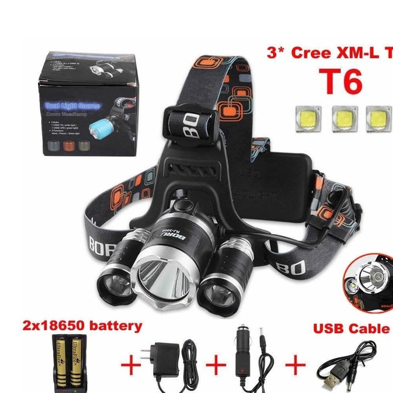 3x Cree LED XM-L T6 Waterproof Headlamp LED Torch Flashlight+2pcs Rechargeable 18650 battery+EU/USPlug AC charger+Car&USB Charger er+Car Charger - OhCoolstule