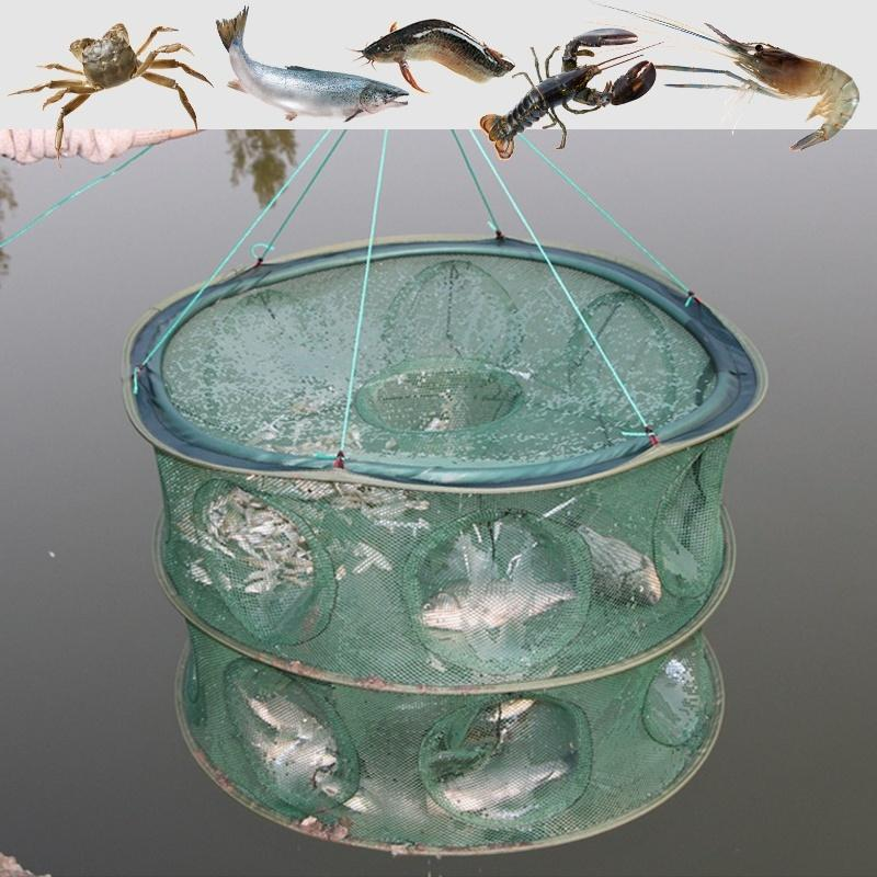 6/8/9/13/15 Holes Fish Dip Cage Crab Crawdad Shrimp Basket Double Layer Large Foldable Fishing Net Bait Trap Fishing Tool - OhCoolstule