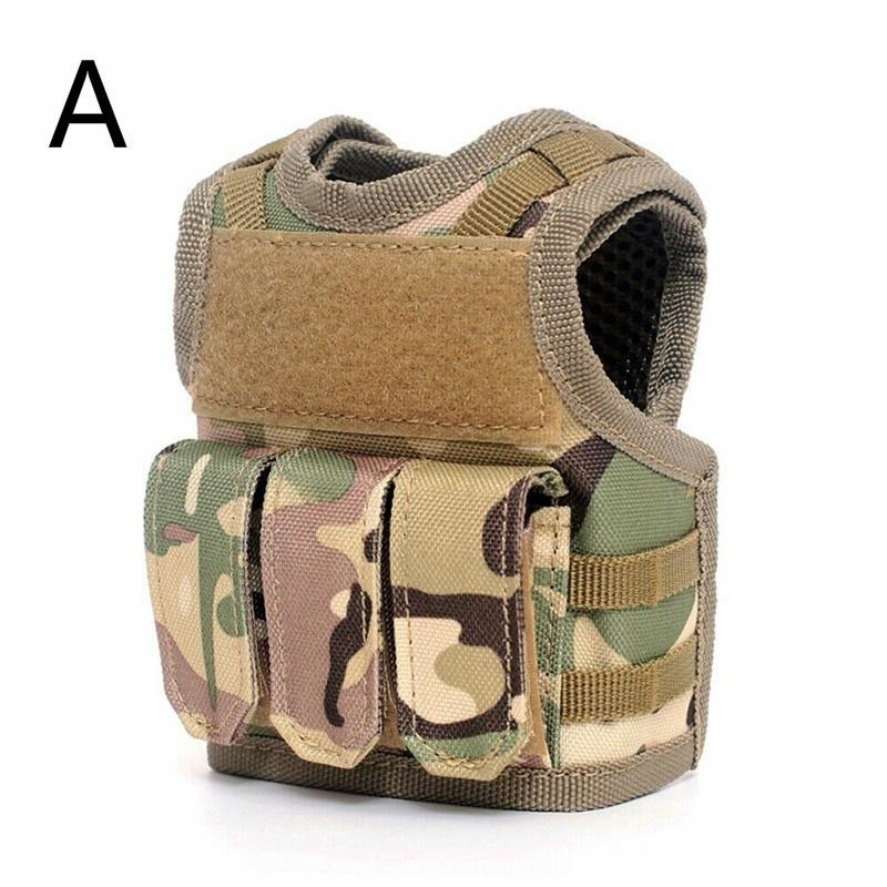 2019 New Party holiday diy decoration wine bottle cover bag Pouches Military Mini Miniature Vest Personal Bottle Drink Set Adjustable Shoulder Strap Drink Tactical Beer Bottle Cover event party Accessory - OhCoolstule