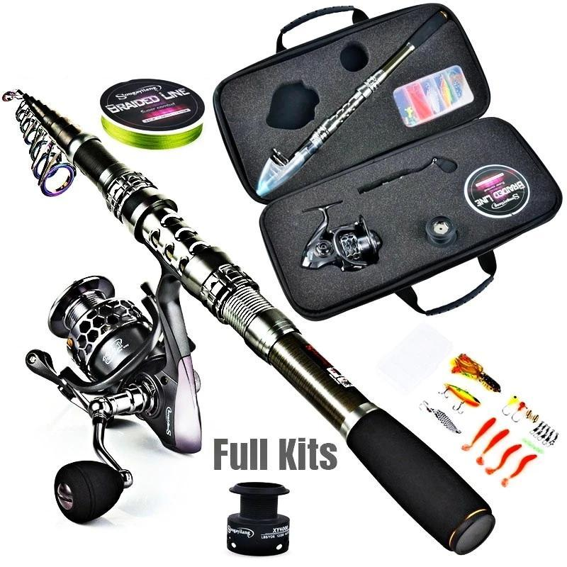 Fishing Rod Combos Carbon Fiber Telescopic Fishing Rod and 13+1BB Spinning Fishing Reel with Accessories Line for Travel Camping Outdoor Fishing Tackle Set - OhCoolstule
