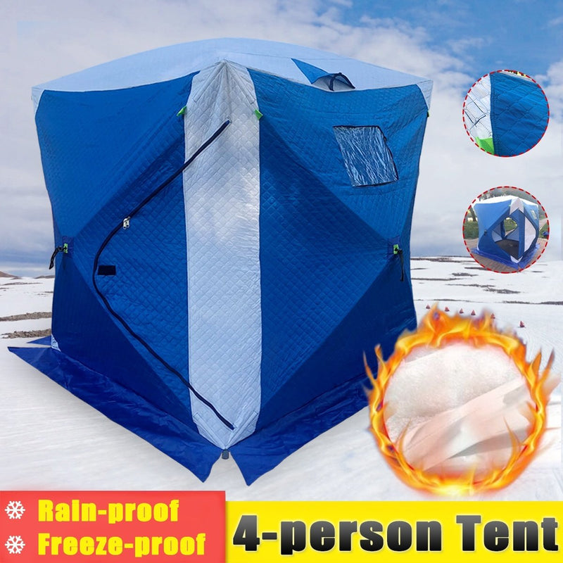 Outdoor Fish Shelter Hut 180cm*180cm*205cm 4-person Ice Fishing Shelter Tent Portable House - OhCoolstule