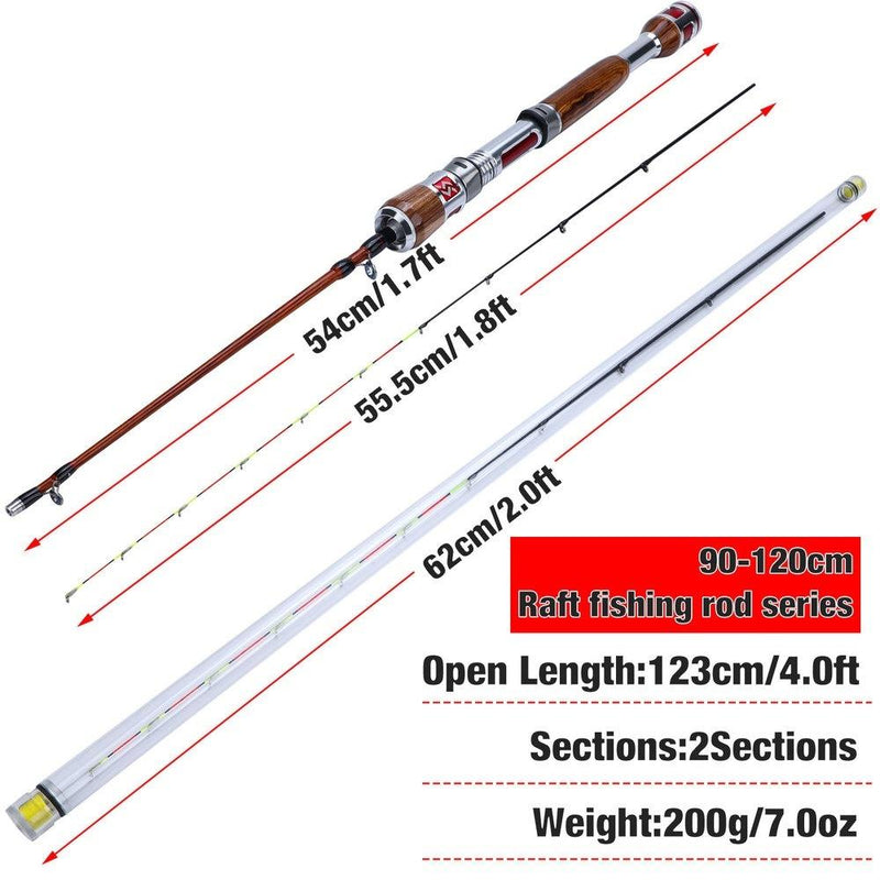 Sougayilang 2 Sections Carbon Fiber Ice Fishing Rod with Lightweight Wooden Handle Winter Fishing Rods Fishing Tackle Gear - OhCoolstule