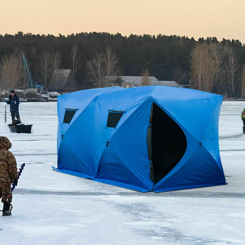 "5-8 Men Ice Fishing Shelter 142"" Pop up Portable Tent House Outdoor Carry Bag - OhCoolstule"