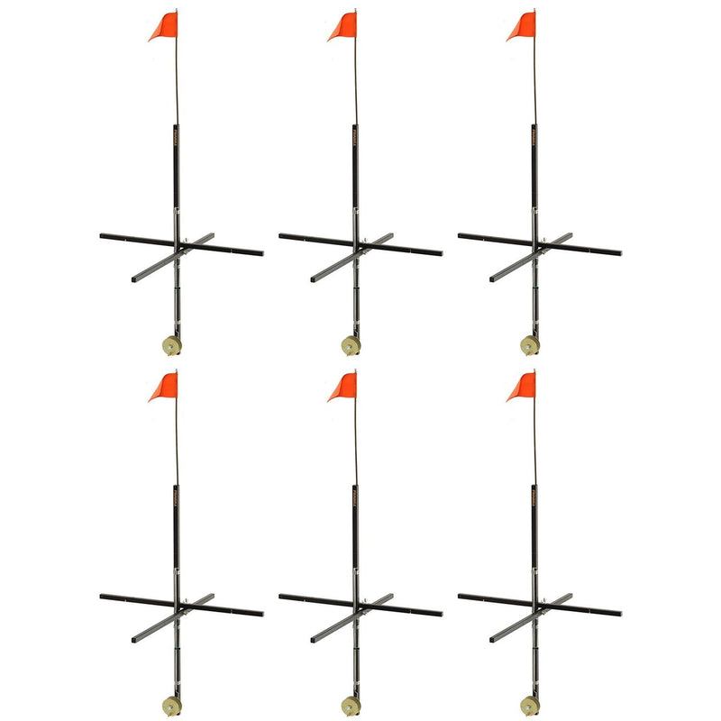 Frabill Deep Snow Ice Fishing Wood Stick Tip Up Trap with 32 Inch Flag (6 Pack) - OhCoolstule
