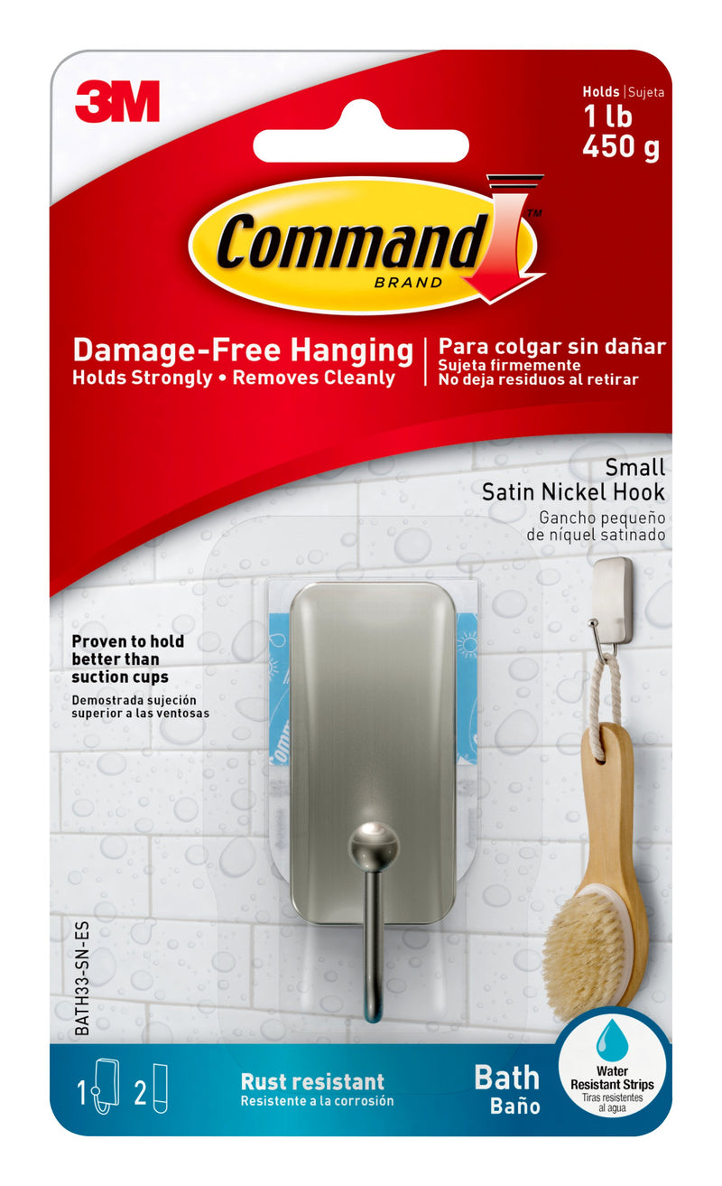 Command Bath Small Hook, Satin Nickel, BATH33-SN-ES