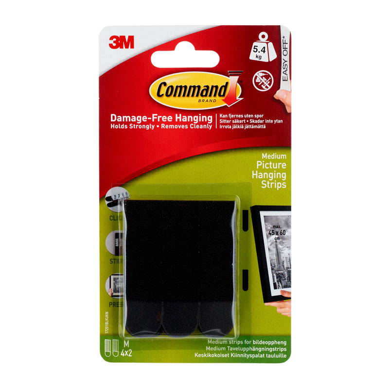 Command Medium Black Picture Hanging Strips 17201BLK