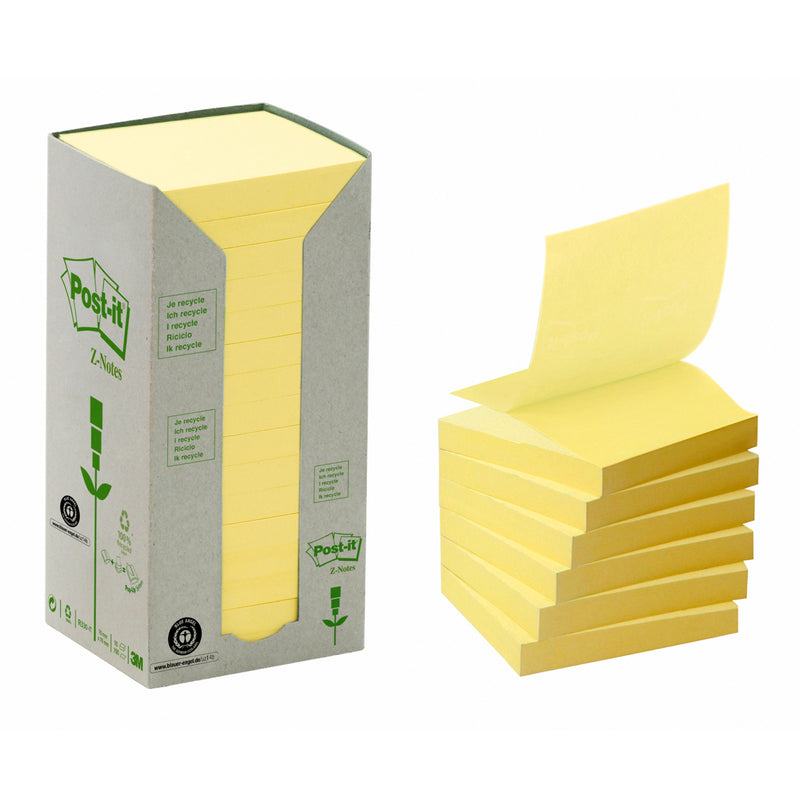 Post-it Z-Notisar 76x76 recycled gul (16)