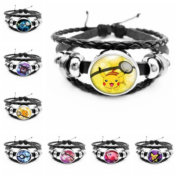 Black Leather Pokemon Bracelet Pikachu Glass Snap