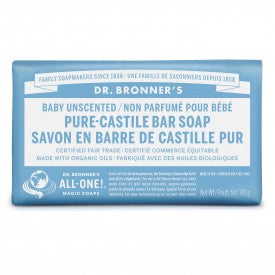 Dr. Bronner's Pure Castile Bar Soap Baby Unscented 140g