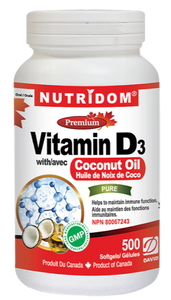 Vitamin D3 1,000 IU with Coconut Oill 500 Softgels
