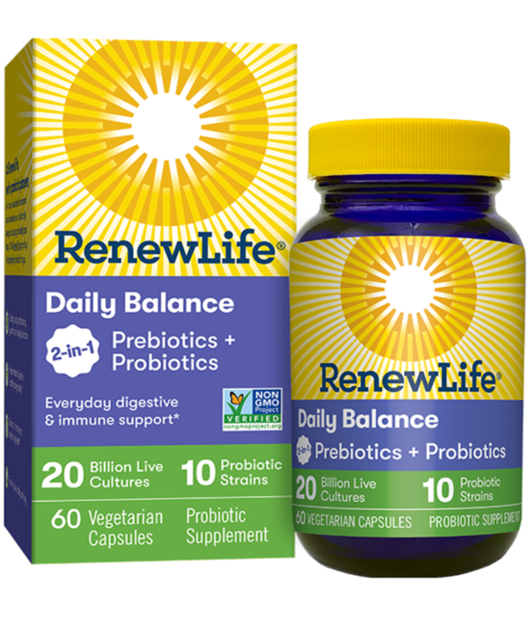 Daily Balance 2-in-1 Prebiotics and Probiotics 60 Veggie Capsules