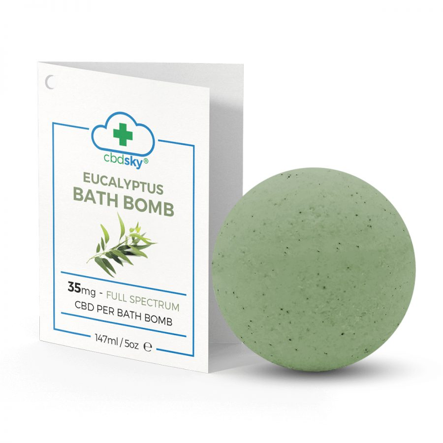Eucalyptus CBD Bath Bomb – 35mg of Full Spectrum CBD Oil