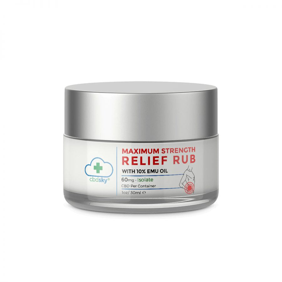 CBD Maximum Relief Rub With 10% EMU Oil 1oz/30ml – 60mg CBD Isolate