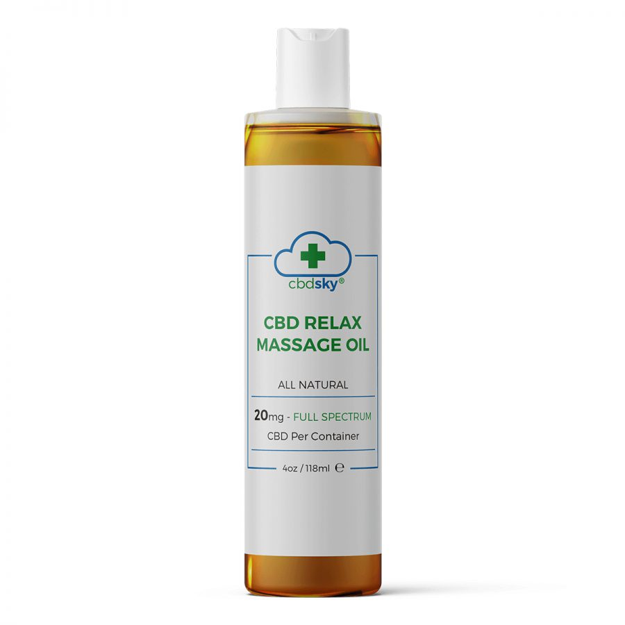 CBD Relax Massage Oil (4oz/118ml, 20mg Full Spectrum CBD)