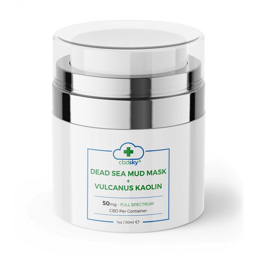 CBD SKY Dead Sea Mud Mask + Valcanus Kaolin 1oz (50mg CBD)