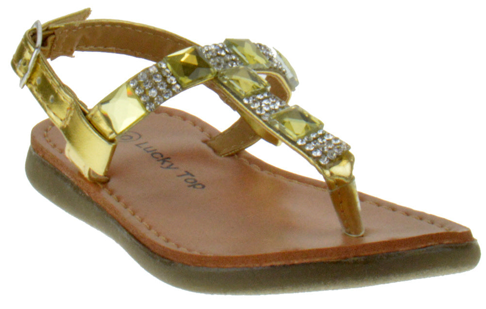 Honey 1A Baby Girls Floral Rhinestone Comfort Slingback Sandals Gold
