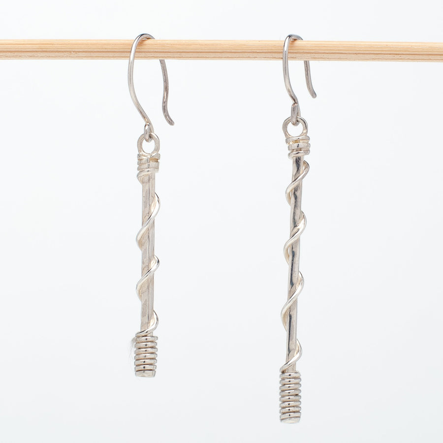 Asymmetrical Sterling Silver Rod Earrings