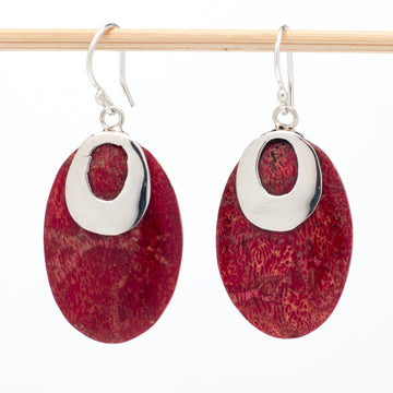 Rich Red Coral and Sterling Earrings