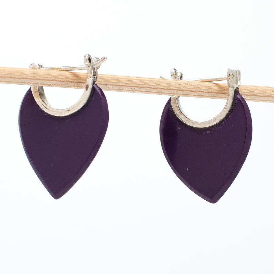 Purple Resin Earrings With Hinged Posts