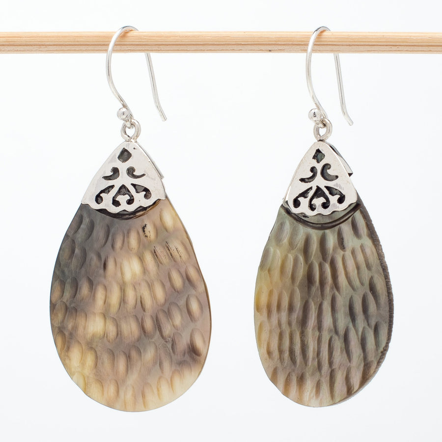 Mother of Pearl Large Carved Teardrop Earrings