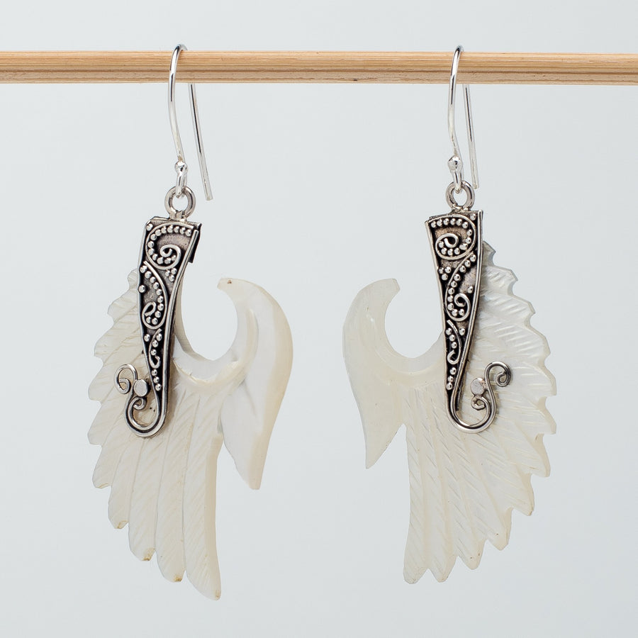 Mother of Pearl Single Angel Wing Earrings