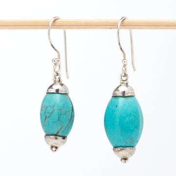 Turquoise Howlite Barrel Earrings