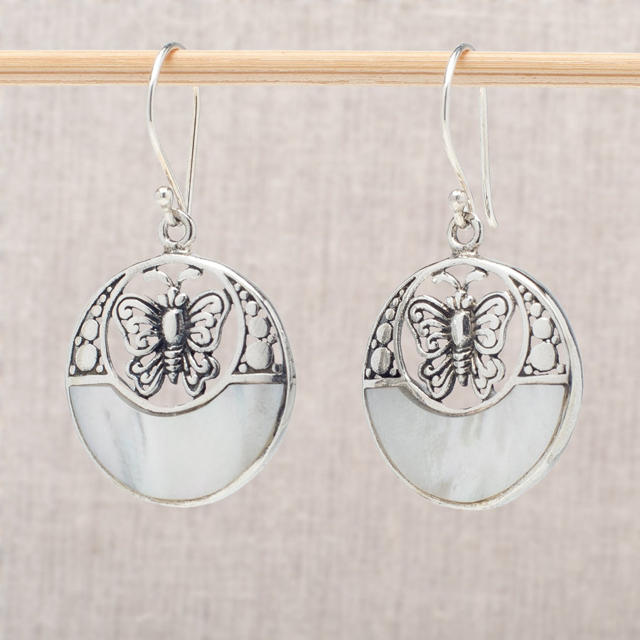 Mother-of-Pearl and Butterfly Earrings