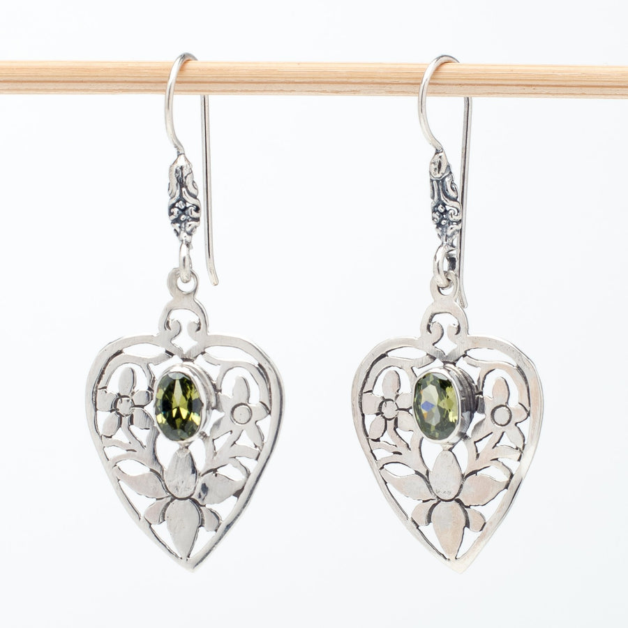 Intricate Sterling Heart Earrings With Peridot