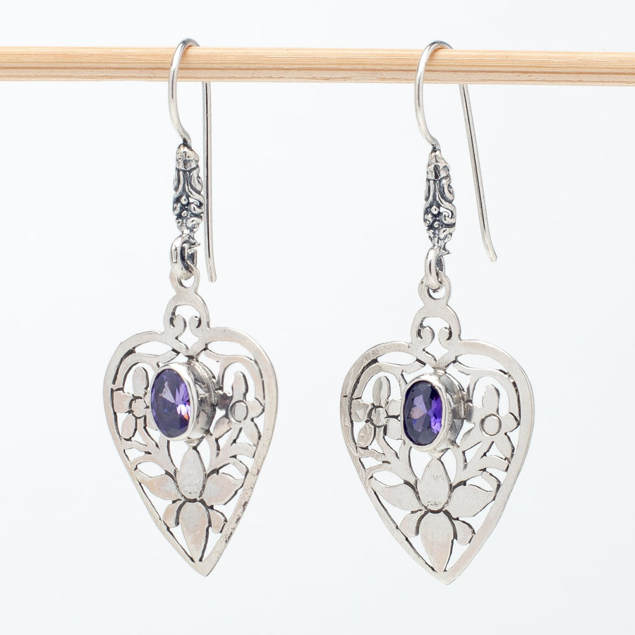 Intricate Sterling Heart Earrings With Amethyst