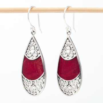 Sterling Teardrop Earrings With Coral