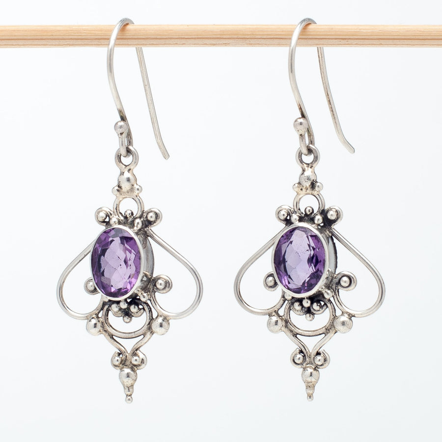Amethyst Earrings in Intricate Sterling Bezel
