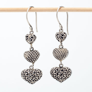 Triple Silver Heart Earrings
