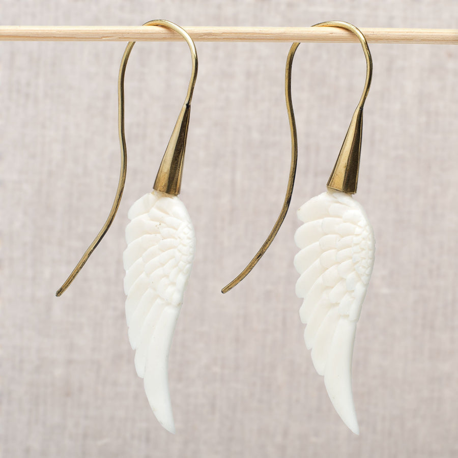 Carved Bone Wing Earrings