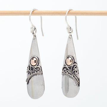 Sterling Teardrop Earrings With Brass Accent