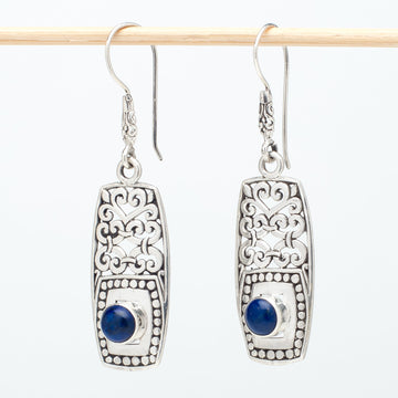 Silver Shield Earrings With Lapis