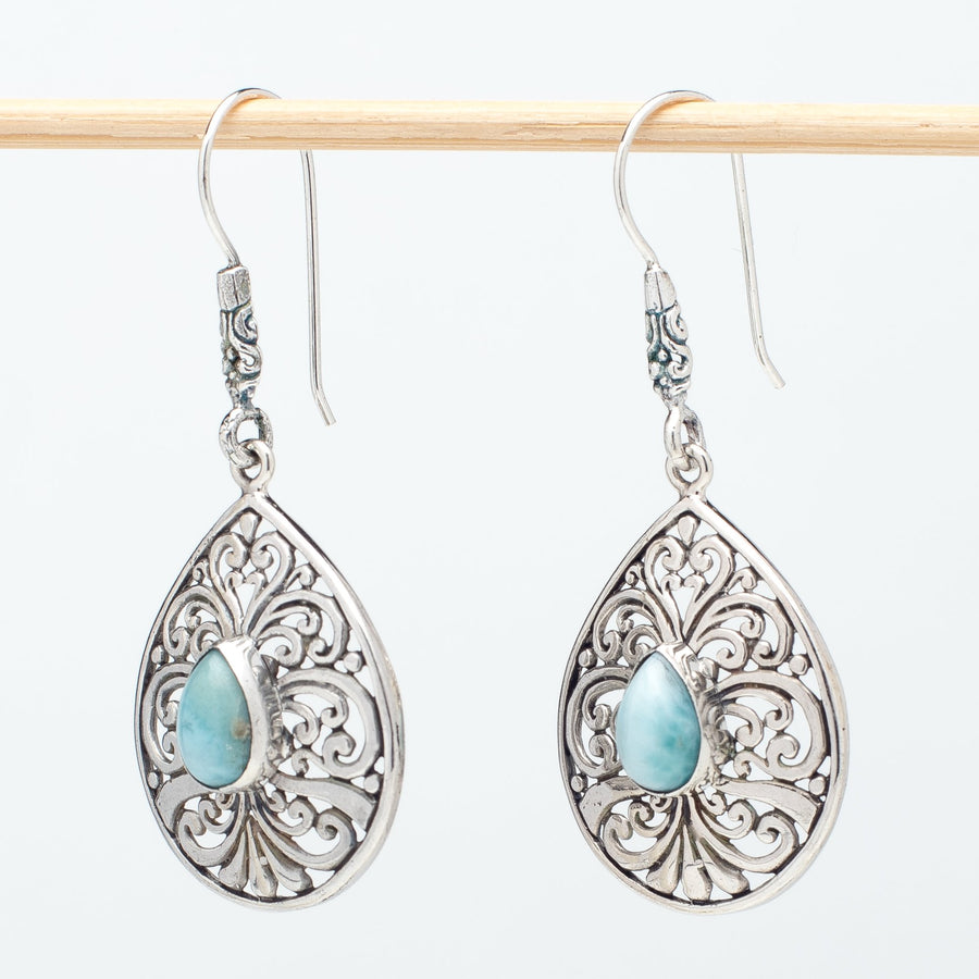 Classic Larimar Teardrop Earrings