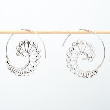 Spiral Sterling Hoop Earrings