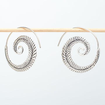 Sterling Hoop Feather Earrings