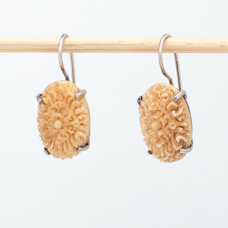 Carved Bone Cabochon Earrings