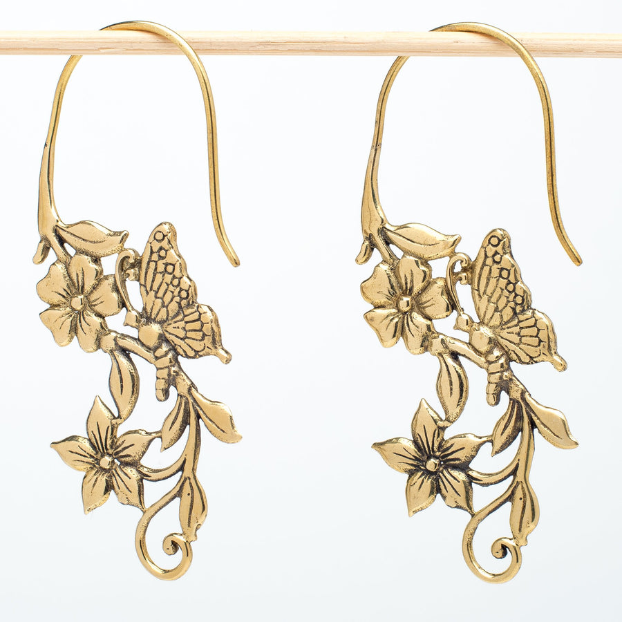 Brass Butterflies and Flower Earrings
