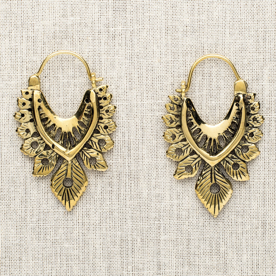 Oblong Fancy Brass Feather Earrings