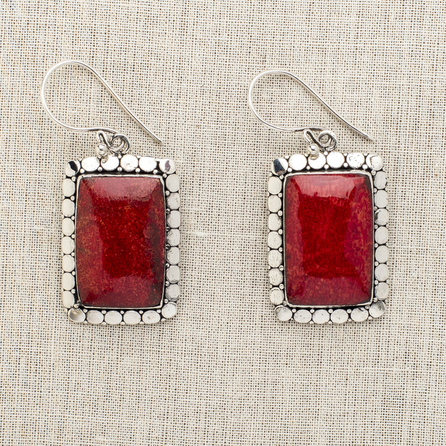 Large Rectangular Red Coral Earrings