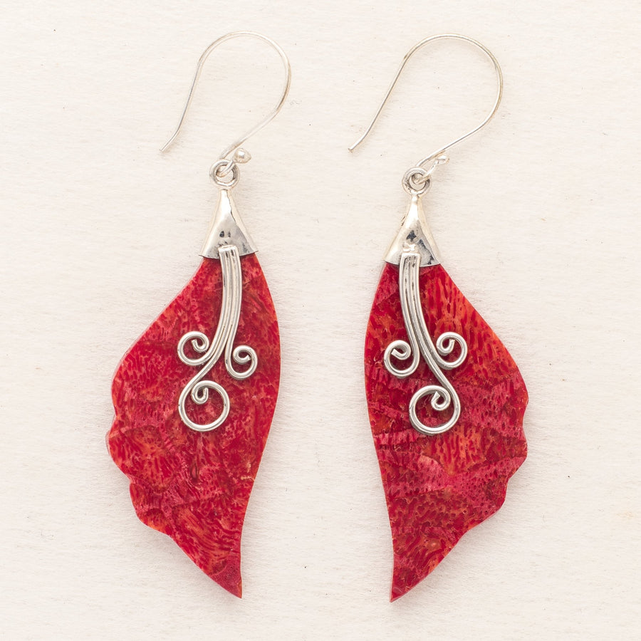 Coral Leaf Earrings