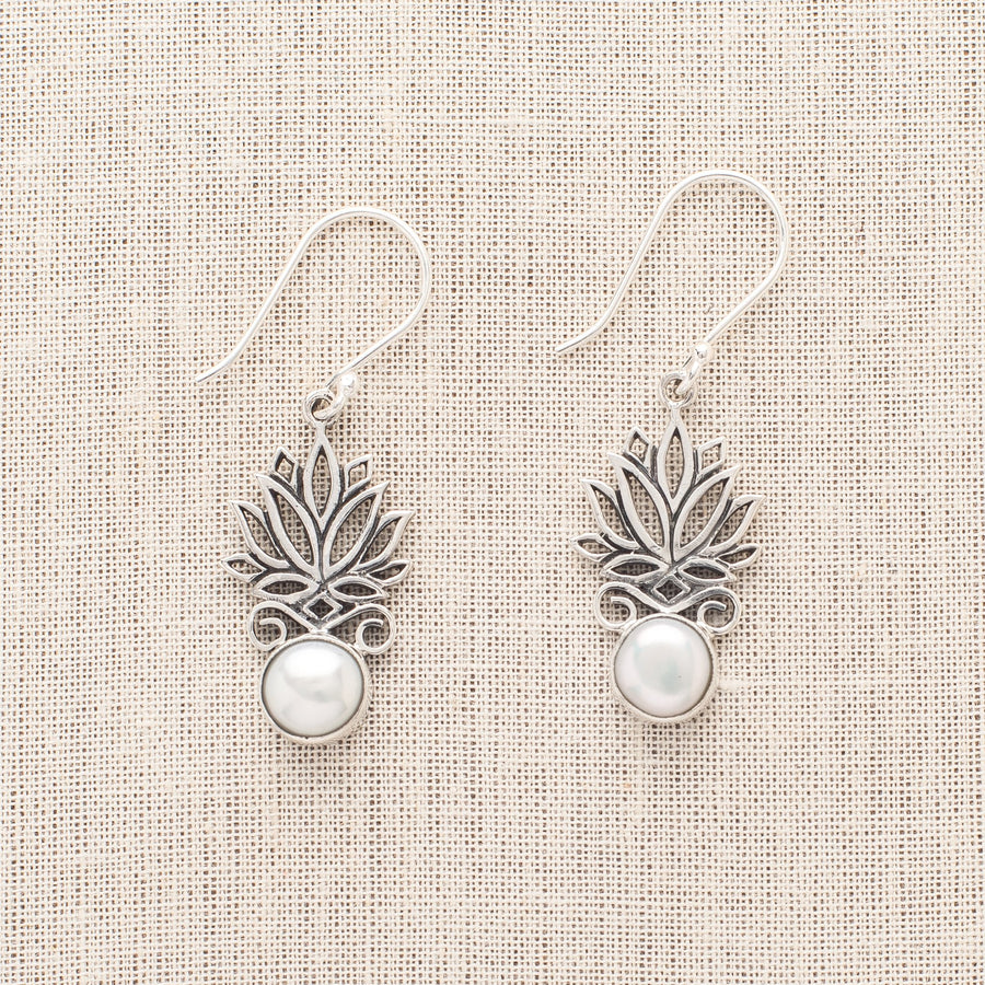 Lotus Earrings With Pearls